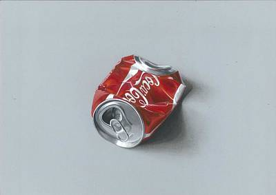 Realistic Drawing Of Crushed Coca Cola Can Original by Sushant S Rane