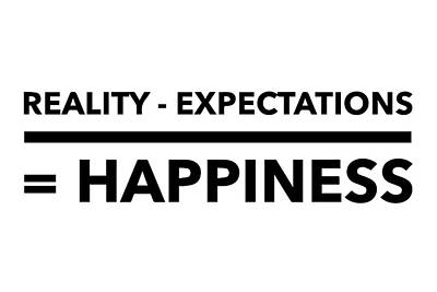 Uplifting Drawing - Reality Minus Expectations Equals Happiness by Thinklosophy