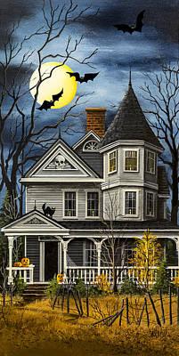 Spooky Scene Painting - Really Spooky Gray House by Debbi Wetzel