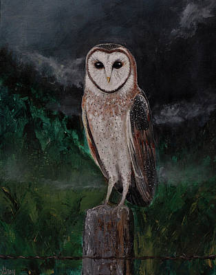 Painting - Realsim Barn Owl Painting With Mountain Landscape by Gray Artus
