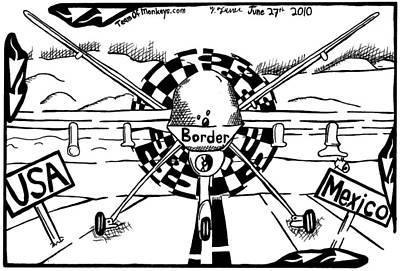 Reaper Drone For The Us Mexico Border By Yonatan Frimer Art Print by Yonatan Frimer Maze Artist
