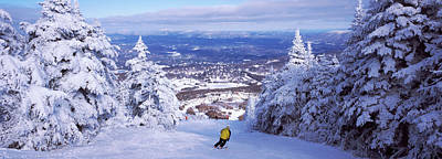 Skiing Photograph - Rear View Of A Person Skiing, Stratton by Panoramic Images