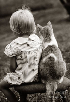 Pet Care Photograph - Rear View Of Little Girl And Cat by C.P. George/ClassicStock