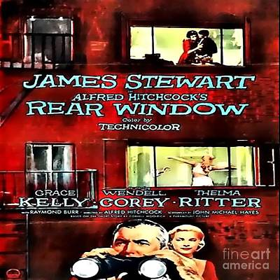 Grace Kelly Digital Art - Rear Window Vintage Movie Poster by Spencer McKain
