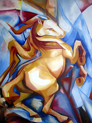 Abstract Painting - Rearing Horse by Leyla Munteanu