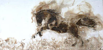 Encaustic Horse Painting - Rearing To Go by Gabrielle England