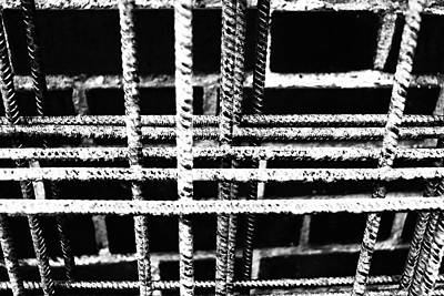 Photograph - Rebar And Brick - Industrial Abstract by Karen Stahlros