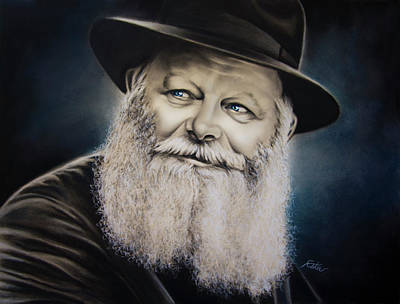 Judaica Drawing - Rebbe In Blue by Estee Klein