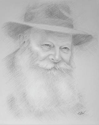Judaica Drawing - Rebbe In Graphite by Estee Klein