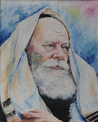 Painting - Rebbe Praying by Miriam Leah