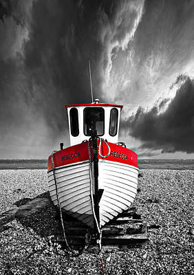 Fishing Boat Photograph - Rebecca Wearing Just Red by Meirion Matthias