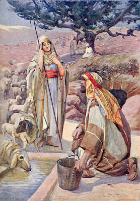Bible Drawing - Rebekah At The Well. From A Book Of by Vintage Design Pics