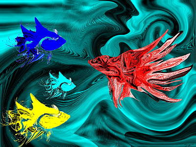 Conceptual Digital Art - Rebel Fish Againt The Tide by Abstract Angel Artist Stephen K