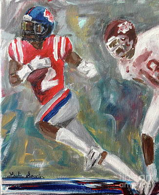 Painting - Rebels Vs. Dawgs by Leslie Saucier