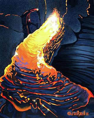 Lava Flow Painting - Rebirth by Joe Roselle