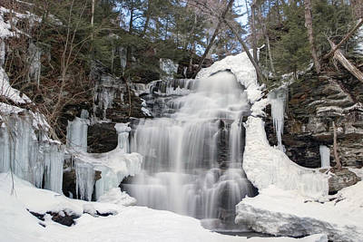 Photograph - Receding Winter Ice At Ganoga Falls by Gene Walls