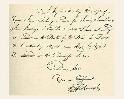 Autographed Drawing - Receipt, Dated 1802, Signed By E by Vintage Design Pics