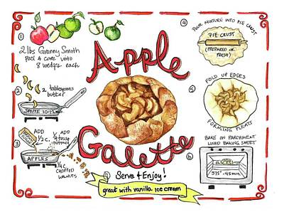 Painting - Recipe- Apple Galette by Diane Fujimoto