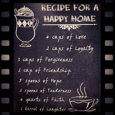 Photograph - Recipe For A Happy Home #recipe #happy by Fotochoice Photography