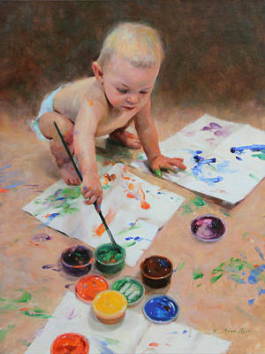 Toddler Portrait Painting - Reckless Abandon by Anna Rose Bain