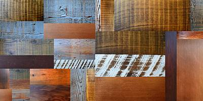 Reclaimed Wood Collage 4.0 Art Print by Michelle Calkins