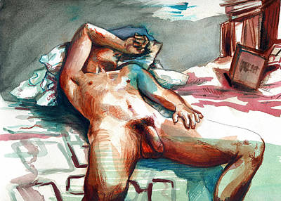 Figure Drawing Painting - Nude Reclined Male Figure by Rene Capone