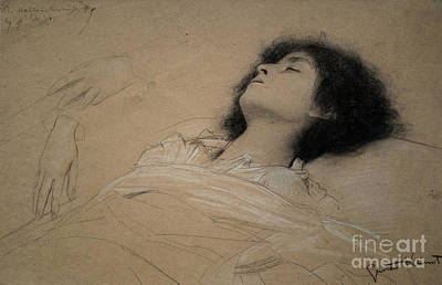 Drawing - Recling Girl And Two Studies Of Hands by Gustav Klimt