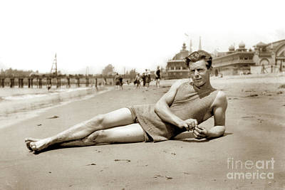 Photograph - Reclining Bather In The Water's Edge On The Beach At Santa Cruz by California Views Mr Pat Hathaway Archives