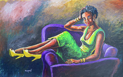 Painting - Reclining Beauty by Anthony Mwangi