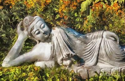 Digital Art - Reclining Buddha 2015 by Kathryn Strick