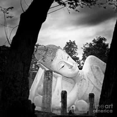 Reclining Buddha  Art Print by Pornsak Na nakorn