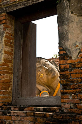 Reclining Buddha View Through A Window Art Print