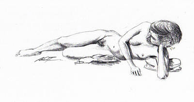 Reclining Drawing Model Art Print