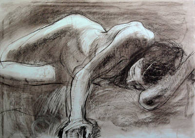 Drawing - Reclining Female by Harry Robertson