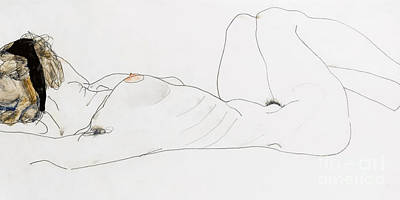 Nudes Drawing - Reclining Female Nude by Egon Schiele