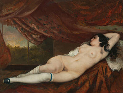 Alluring Painting - Reclining Female Nude by Gustave Courbet