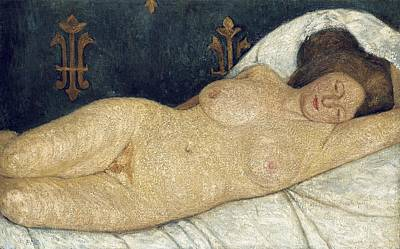 Nudes Painting - Reclining Female Nude by Paula Modersohn-Becker