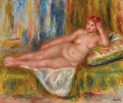 1918 Painting - Reclining Female Nude by Pierre Auguste Renoir