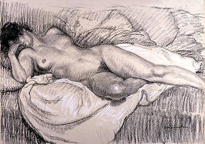 Drawing - Reclining Female Nude by Theophile Alexander Steinlen