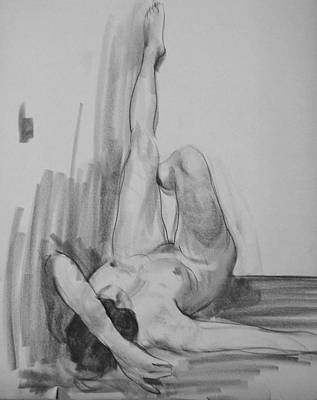 Drawing - Reclining Female Nude With Legs Upraised by Robert Holden