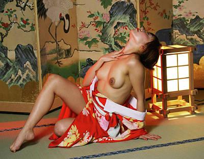 Reclining In Kimono Art Print by Tim Ernst