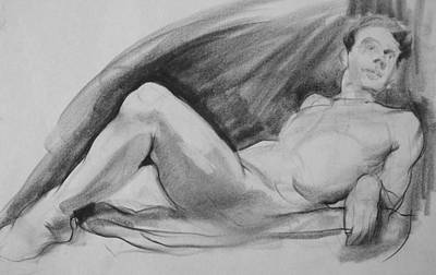 Drawing - Reclining Male Nude Resting On Elbows by Robert Holden