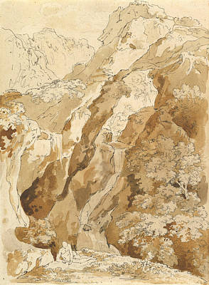 Drawing - Reclining Man In A Mountainous Landscape With Waterfalls by Johann Georg von Dillis