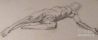 Penis Drawing - Reclining by Meg Goff