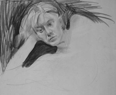 Drawing - Portrait Study Of Reclining Model by Robert Holden