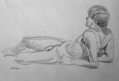 Drawing - Reclining Model Resting On Elbows by Robert Holden