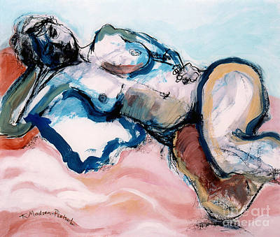 Painting - Reclining Multi-coloured Gestural Nude by Kerryn Madsen-Pietsch