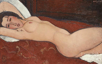 Alluring Painting - Reclining Nude, 1917 by Amedeo Modigliani