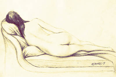 Drawing - Reclining Nude by Edgar Torres