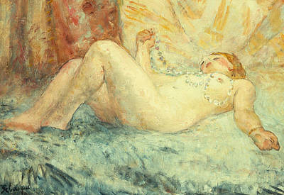 Bed Painting - Reclining Nude by Henri Lebasque